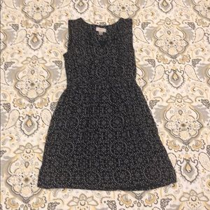 Loft Petites dress in navy blue and white